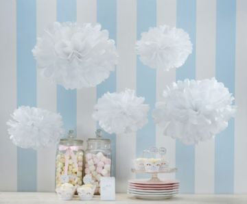 White Tissue Paper Pom Poms - pack of 5